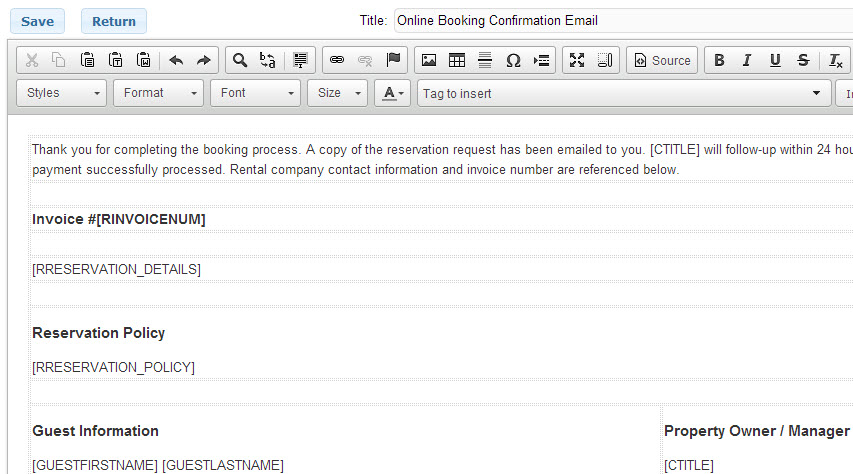 New Email Response Template For Online Booking Confirmations