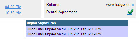 Area of guest control panel showing whether the rental agreement was signed or not.  If signed, an onmouseover event displays who signed it and on what day and time.   If not signed, the icon will show as either pending or it will provide a link to open a  window to send a signature request.